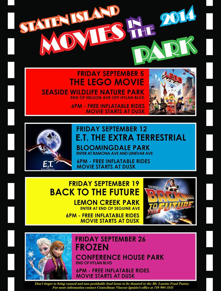 staten island movies in the park 2014